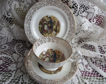Bone China England Trio - Cup Saucer and Plate Courting Couple - English Tea set - Made in England Tea Cup - Tea Set Trio