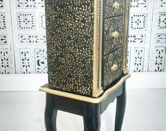 SOLD Jewelry armoire, standing jewelry armoire, Jewelry Box, black and gold, Christmas Gift For Wife, Daughter, Best Friend Gift,