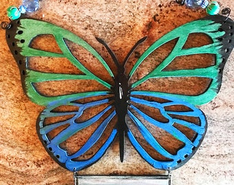BUTTERFLY blue and green in loving memory