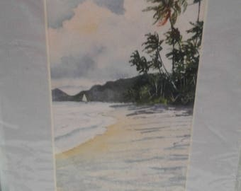 "Vintage  1996 Print/ Titled ""Caribbean  Sunset ""/Palm Trees/Sailboat/ Sandy Beach"