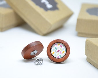 Earring cabochon and wood / cherry wood and patterns drops