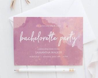 """Modern Feminine Bachelorette Party Invite - Watercolor Invitation -  Instant Download Pink and Purple Invite- Editable PDF - 5""""x7"""" - #GD4103"""