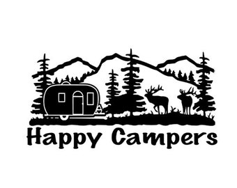 Happy Campers Vinyl Decal Sticker Camping In Mountains For Car Laptop Macbook RV