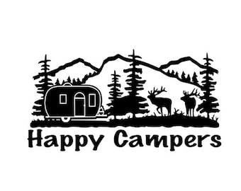 Happy Campers Vinyl Decal Sticker Camping in Mountains for Car, Laptop, macbook, RV, wall, etc.