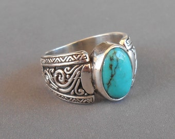 Balinese Silver 925 Turquoise Ring /  size :  7.5 ready to ship  / sterling silver / granulation technique  / Bali handmade jewelry.