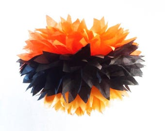 Halloween / party poms /  pompoms / first birthday / baby shower / hanging poms / nursery pom poms / flower balls / decorations