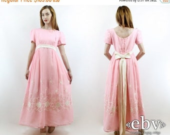 Vintage 70s Emma Domb Pink Floral Embroidered Maxi Dress M Princess Dress Pink Dress Pink Prom Dress Hippie Dress Hippy Dress Party Dress