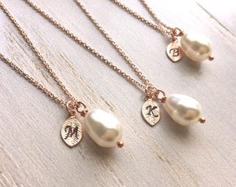 Rose Gold Pearl Necklace, Teardrop Pearl Necklace, Bridesmaid's Necklace, Personalized Pearl Necklace, Bridesmaids gifts, Rose Gold Plated