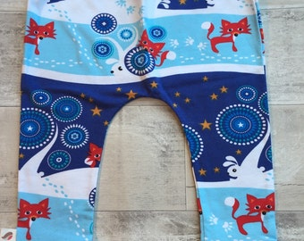 READY TO SHIP Snow Foxies Christmas organic baby leggings by RBLeggings