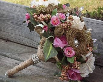 wedding bouquet bridal bouquet burlap lace pink roses pearls rhinestones rustic woodland flower arrangement