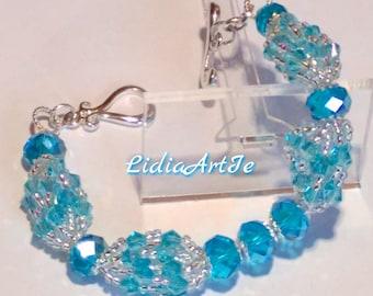 Crystal bracelet,beaded bracelet,blue bracelet,party bracelet