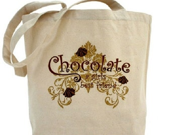 CHOCOLATE - Cotton Canvas Tote Bag - Valentines Day - Gift Bag