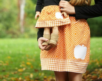 Size 8 - Matching Girl and Doll Skirts fits American Girl Doll - Appliqued Twirl Skirts in Pumpkin Orange