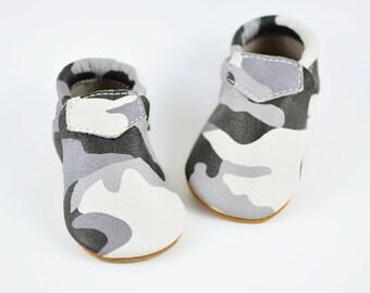 Gray Camo Lokicks Baby Infant Boys Girls Kids Toddler Soft Sole Shoes Handmade Genuine Leather Moccasins Prewalker Loafers