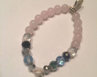 Rose Quartz Wisdom Charm Handmade Gemstone Beaded Bracelet