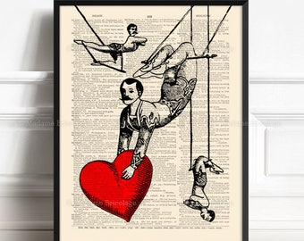 Love Acrobat, Girlfriend Gift Set, Love Circus, 6th Anniversary Gift, Valentines Day, 50th Birthday Gift, Love Poster Art, Cool Poster,  358