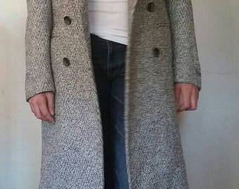 SALE! Authentic 1960s - NEW W/TAGS dead stock vintage Falcone men's black, white, gray tweed wool blend double breasted overcoat size 34