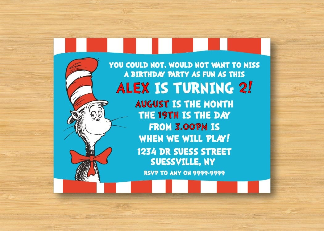 Dr Seuss Cat in the Hat Invitation Printable 5 x 7