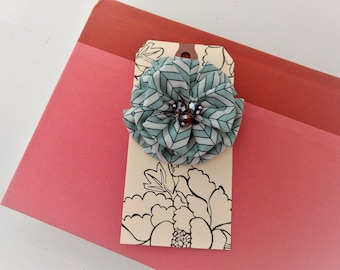 Brooch with Print Fabric Flower