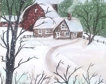 Christmas Cards     In sets of  10 . . .  From my painting Called Country Life