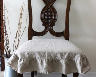 100 Linen Chair Seat Cover With Pleated Ruffle In Natural
