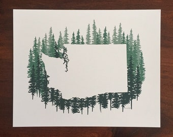 Washington State Print - Blue Pines