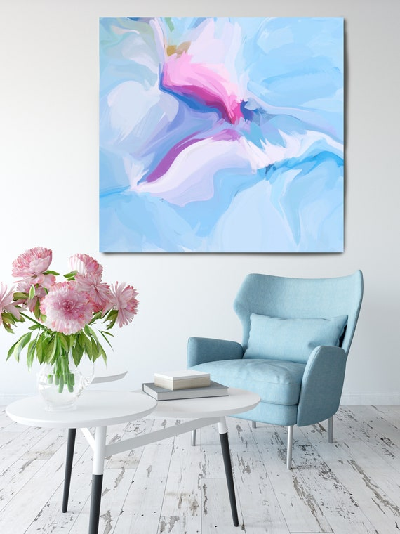"Light Blue. Blue Pink Abstract Art, Wall Decor, Large Abstract Pink Blue Contemporary Canvas Art Print up to 50"" by Irena Orlov"
