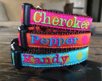 "XS or Sm Dog Collar Any Pattern, Name Color, and 5/8"" width Size. Personalized Dog Collar. Dog Gone It. Embroidered Dog Collar."