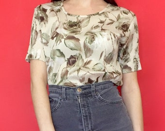 Vintage 90s Brown and Beige Textured Ribbed Short Sleeve Floral Print T-Shirt