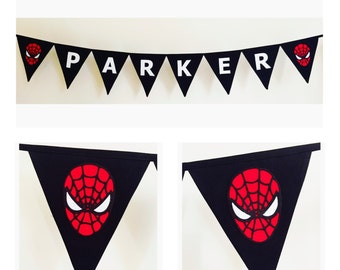 Personalised Spiderman Superhero Bunting Banner Flags decoration