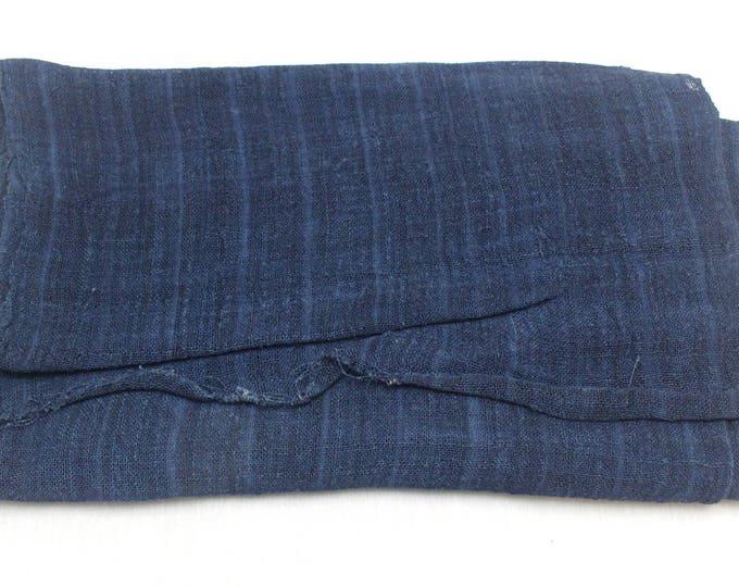 Vintage Hand Woven Hemp Textile. Natural Indigo Deep Dark Blue Fabric. (Ref: 1651)