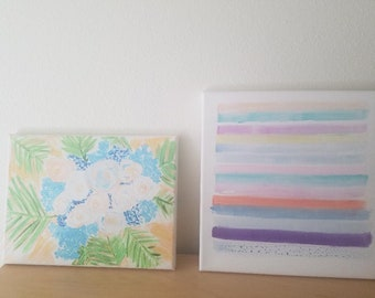 Rainbow and Flowers ART SET  Original Paintings