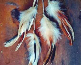 Tri Natural Long Single Feather Earring