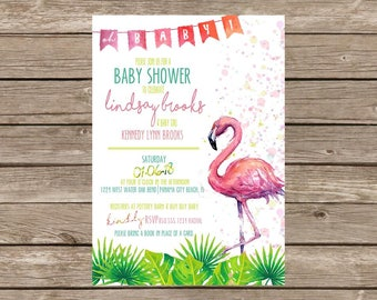 Flamingo Palm Baby Shower Invitation