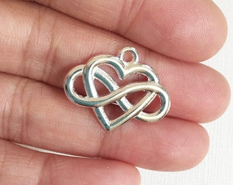 12 pcs of Silver plated heart charm 20x25mm, Silver heart pendant, Silver infinity heart pendant