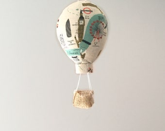 Travel Themed Fabric Hot Air Balloon Nursery Decor - single Small, Medium, or Large