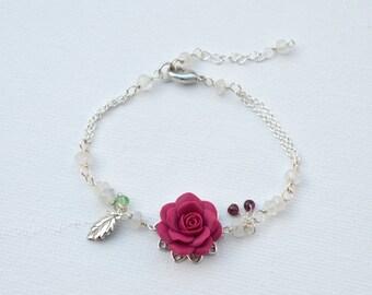 Magenta Rose Vine Bracelet. LIMITED EDITION.