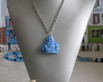 """Charmant collier avec pendentif en céramique """"Bouddha rieur turquoise"""""""
