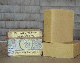 Buttermilk Bay Baby Soap, handmade soap, cold process soap, sensitive skin soap, gentle natural soap, buttermilk soap, bastille soap