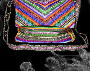 Vintage-Style Boho Colorful Silk Satin Lace Quilted Patchwork Laptop Messenger Bag with Hand Embroidery