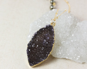 50% OFF SALE - Gold Dark Agate Druzy Necklace – Grey or Black Druzy – Black Pyrite Chain