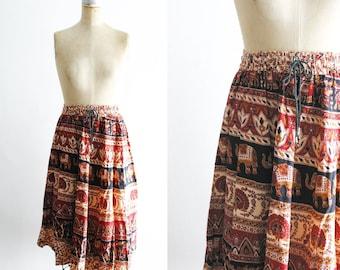 Vintage Indian Elephant Skirt Vintage Elephant Skirt Vintage Indian Skirt Thailand Elephant Skirt Thai Elephant Cambodia Elephant XS