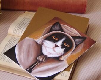 Pilgrim Cat Card, Thanksgiving, Puritan Tuxedo Cat Greeting Card