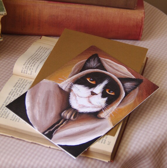 Puritan Pilgrim Cat Greeting Card