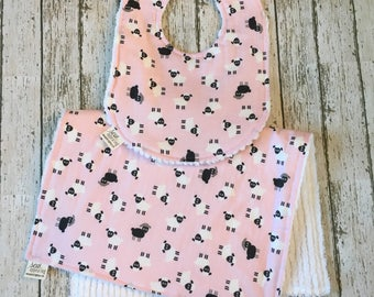 Sheep Bib - Farm Baby Shower Gift - Sheep Baby Nursery - Barnyard Baby Shower - Farm Animals Baby Bib and Burp Cloth - Baby Girl Bibs
