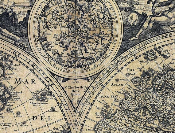 Historic old world map vintage map 1626 old antique like this item gumiabroncs Gallery