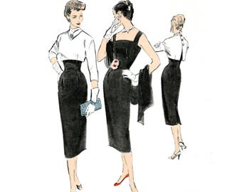 1950s dress vintage sewing pattern reproduction // sheath dress // crop top blouse // PICK YOUR SIZE bust 32 34 36 38