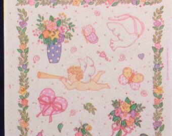 Sealed Vintage Hallmark Cherub Valentine Stickers. 4 Sheets