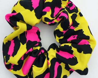 Scrunchie Retro 80s Hair Accessory Neon Color Leopard Animal Print