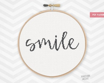SMILE counted cross stitch pattern, easy beginner xstitch pdf